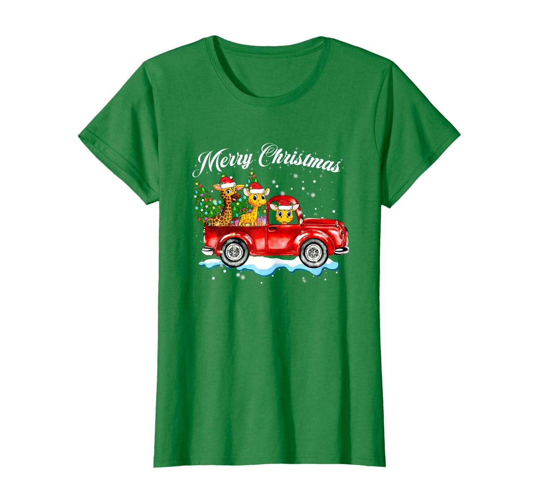 Womens Giraffe Red Truck Family Matching Christmas Pajamas Gift T-Shirt
