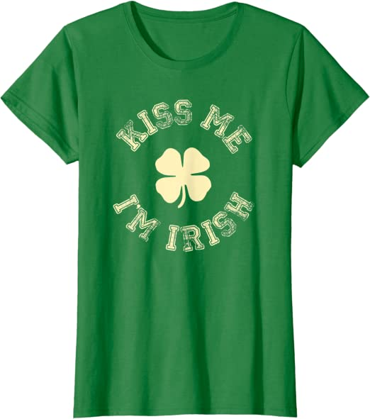 Kiss Me I am IRISH Shamrock Girl Ladies V-Neck T-shirt St Patricks Irish Day Shirts X-Large Black i0001