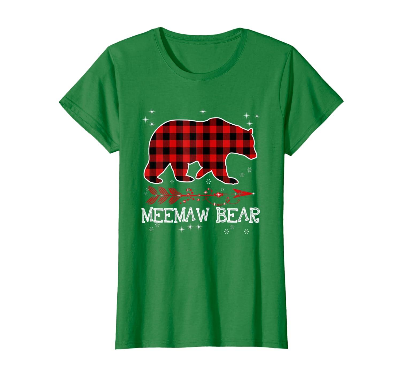 Womens Meemaw Bear  Red Plaid Matching Family Christmas T-Shirt