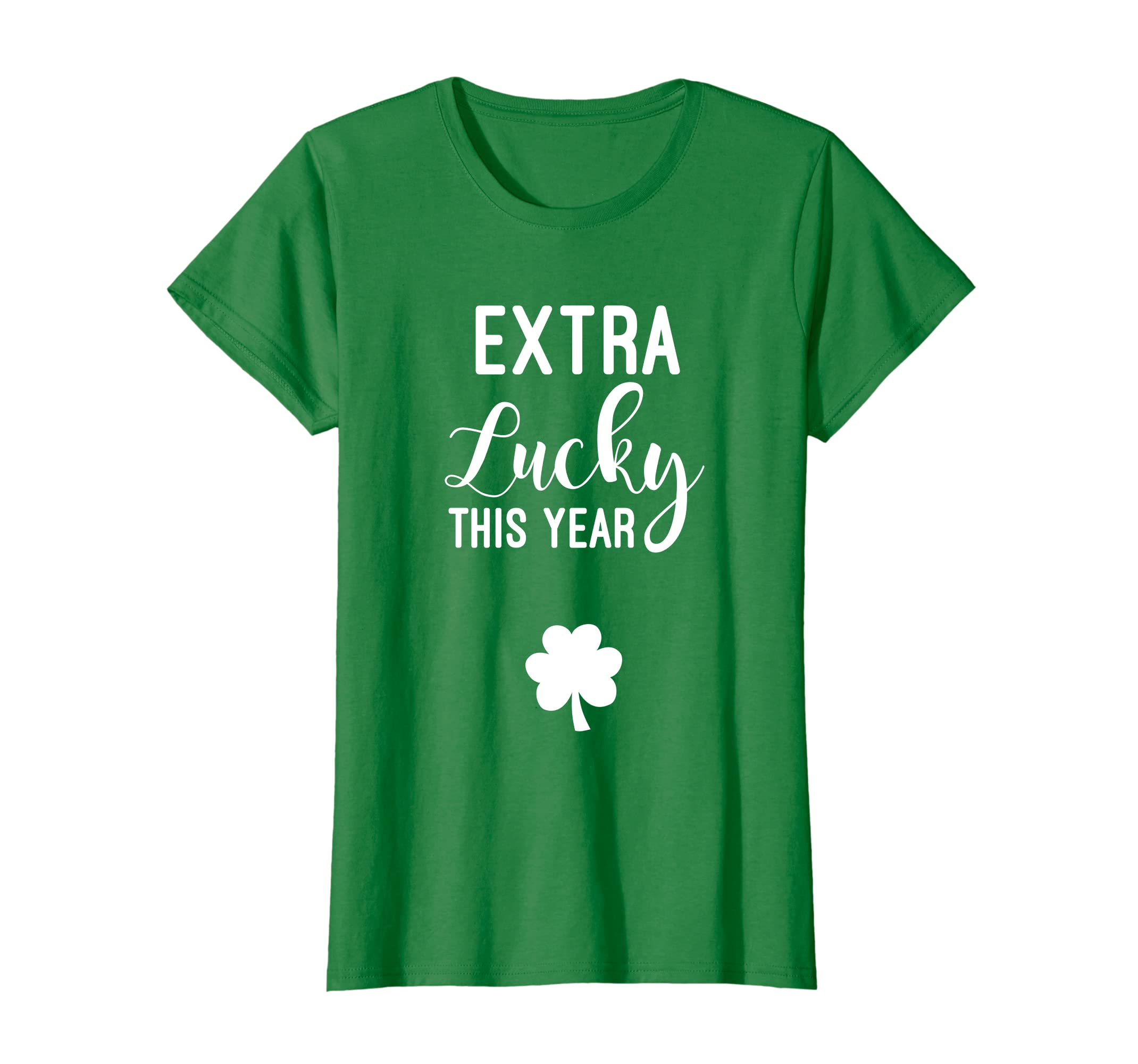 e78c67c4 Amazon.com: Womens Extra Lucky This Year T-shirt Pregnant St Patricks Day  tee: Clothing