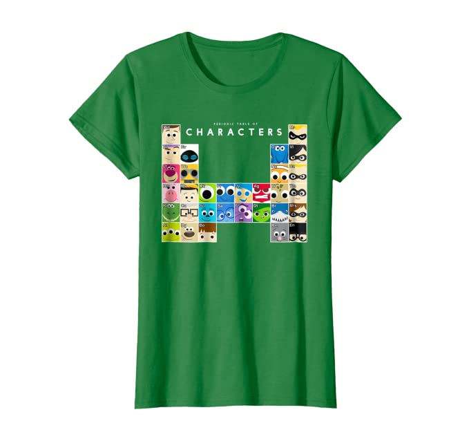 Disney Pixar Movie Characters Periodic Table Graphic T-Shirt
