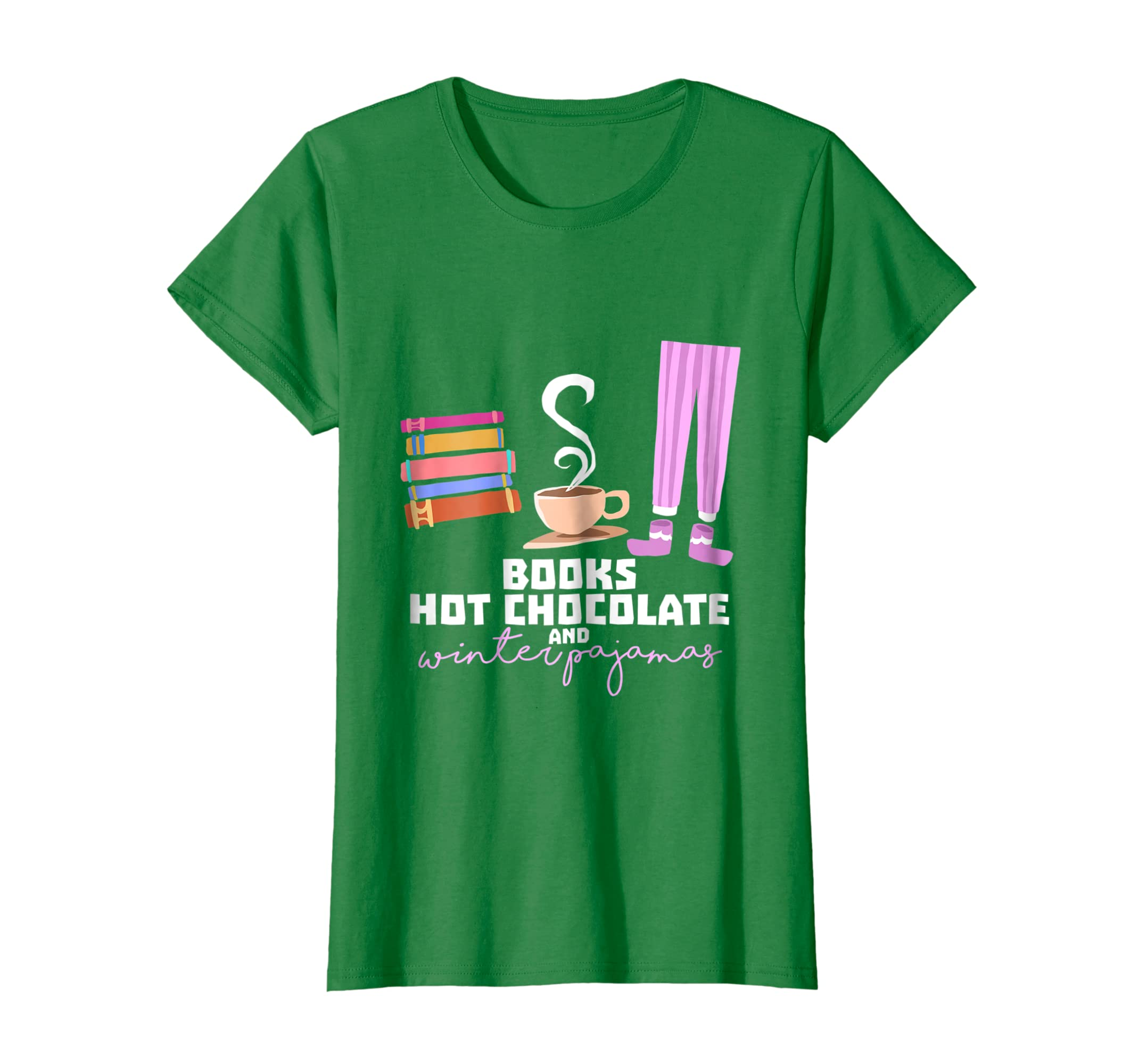 58380e78b824 Amazon.com  Winter Season Pajamas Books and Hot Chocolate T-Shirt  Clothing