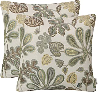 Mika Home Set of 2 Jacquard Tropical Leaf Pattern Throw Pillow Covers Decorative..