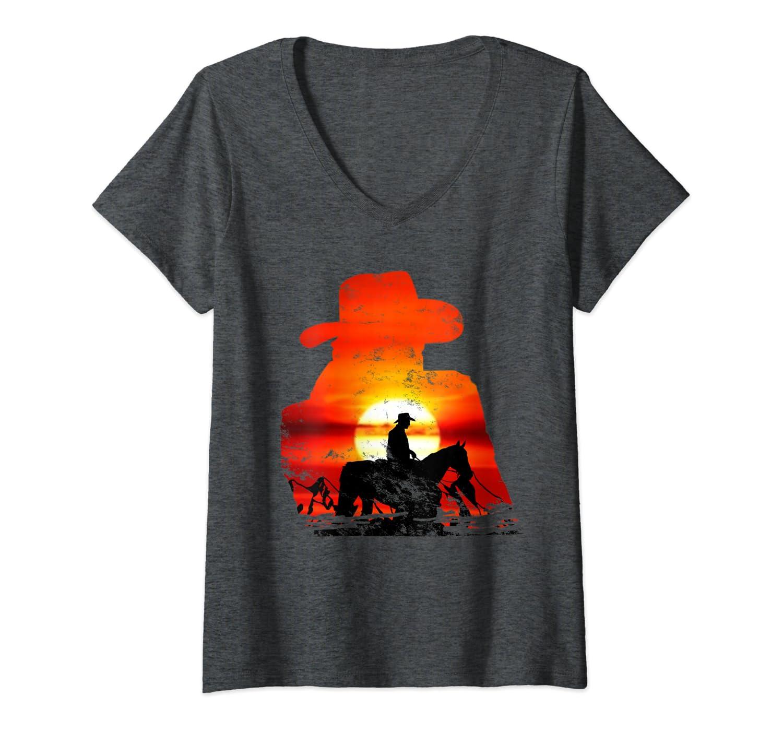 Femme Rod/éo vintage Western Sunset Cowboy /à cheval T-Shirt avec Col en V