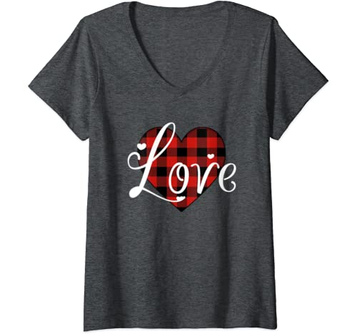 Womens Love Tshirts For Girls, Women Valentine's Day Heart Gifts V Neck T Shirt