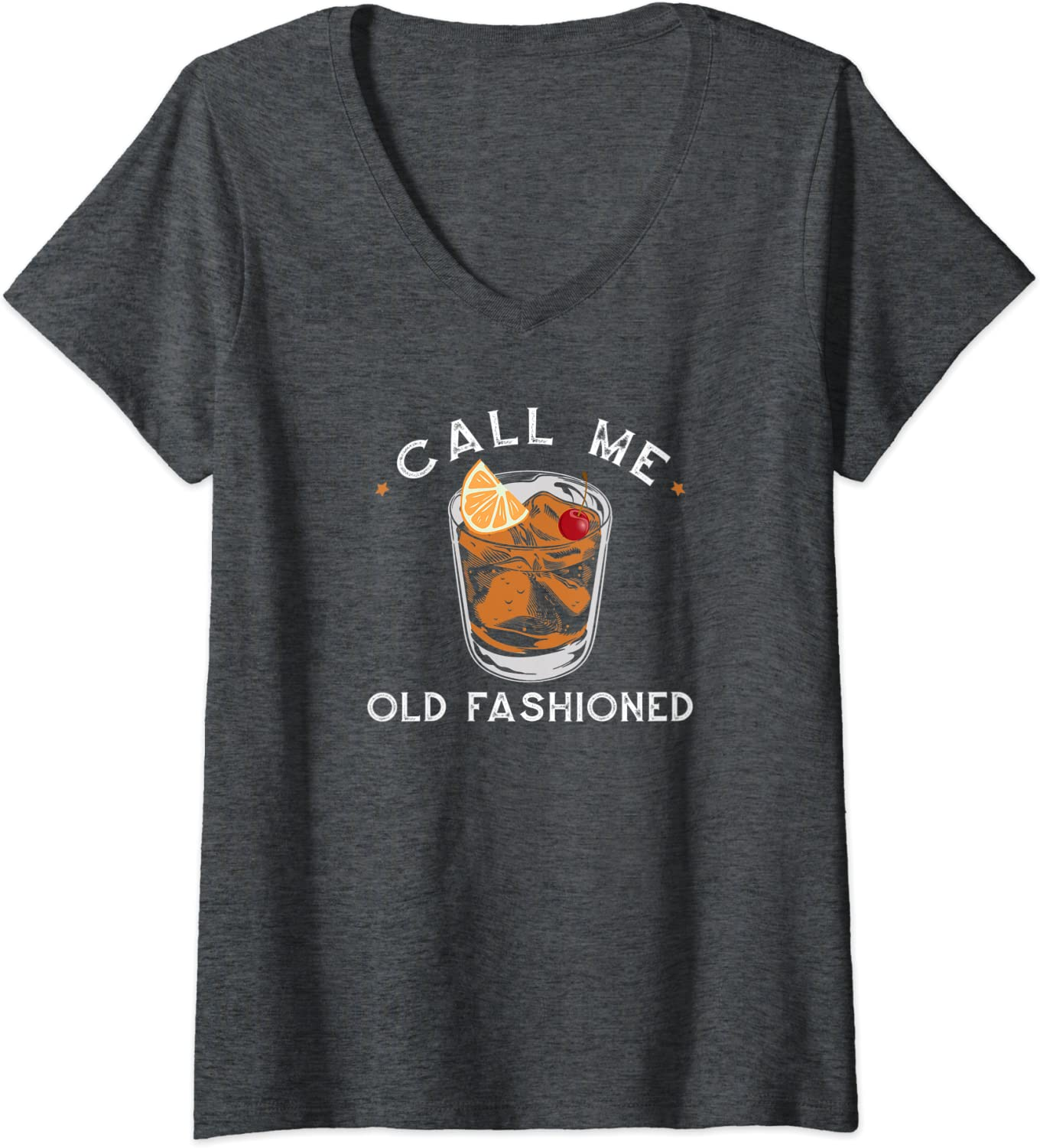 Womens Call Me Old Fashioned Whiskey Drinking Cocktail Bourbon Fan V-Neck T-Shirt-ANZ