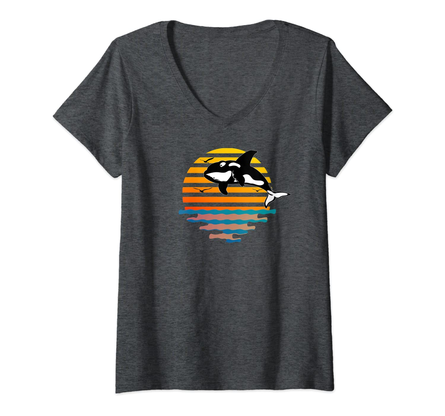 Womens Retro Orca, Killer Whale Sunset Graphic Design V-Neck T-Shirt-ANZ