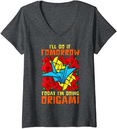 Mujer Grullas de papel de origami japonesas Camiseta Cuello V ...