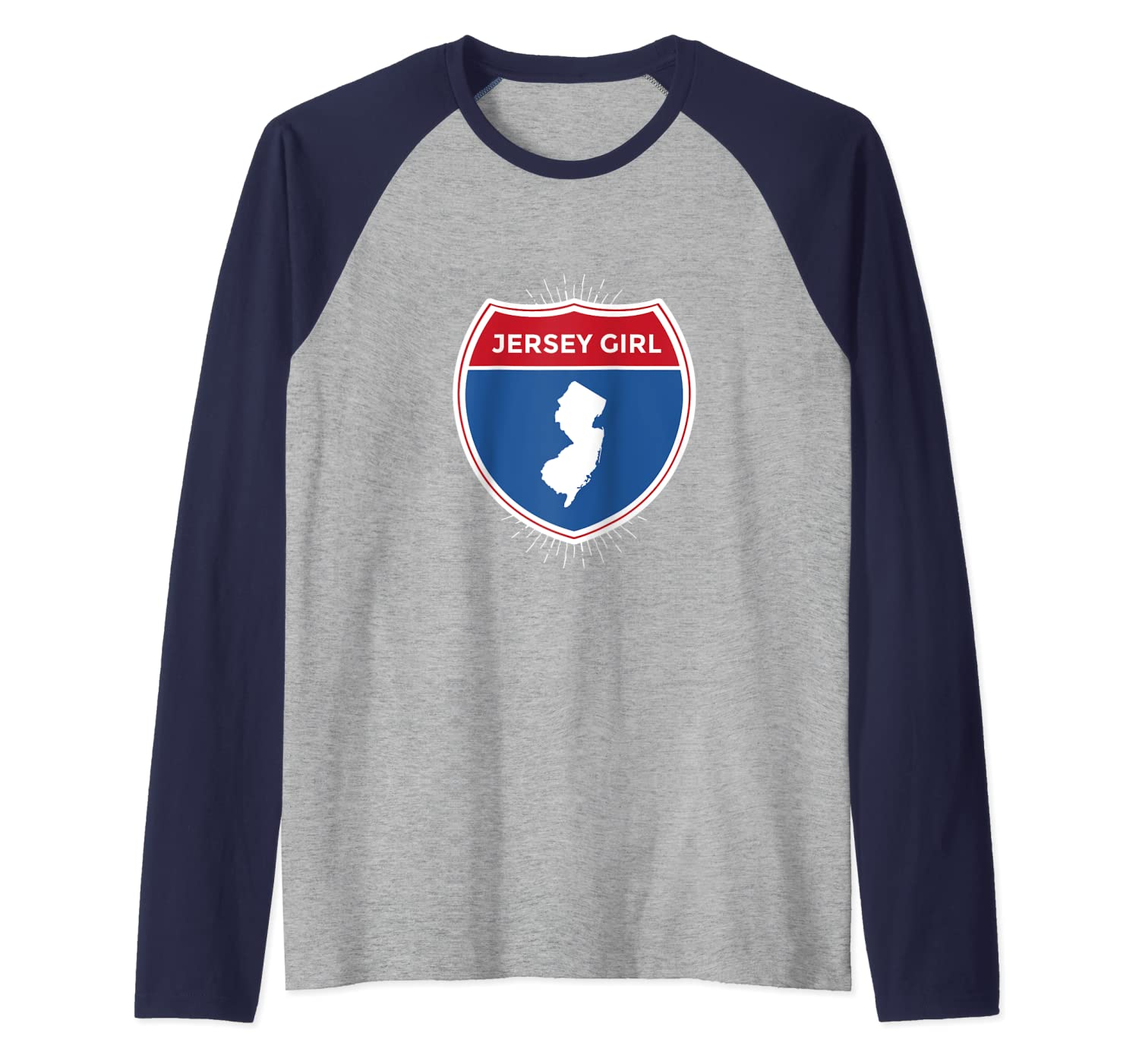 Jersey New Jersey Strong Girl NJ Turnpike Exit Garden State Raglan Baseball Tee