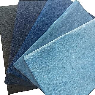 """ZAIONE 5pcs Fat Quarter 17.7""""x17.7"""" PackSoft 100% Cotton Washed Denim Fabric Canvas Jeans Dress T-Shirt Material Patchwo..."""