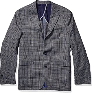 Men's Slim Fit Blazer, Grey/Blue Plaid, 40S