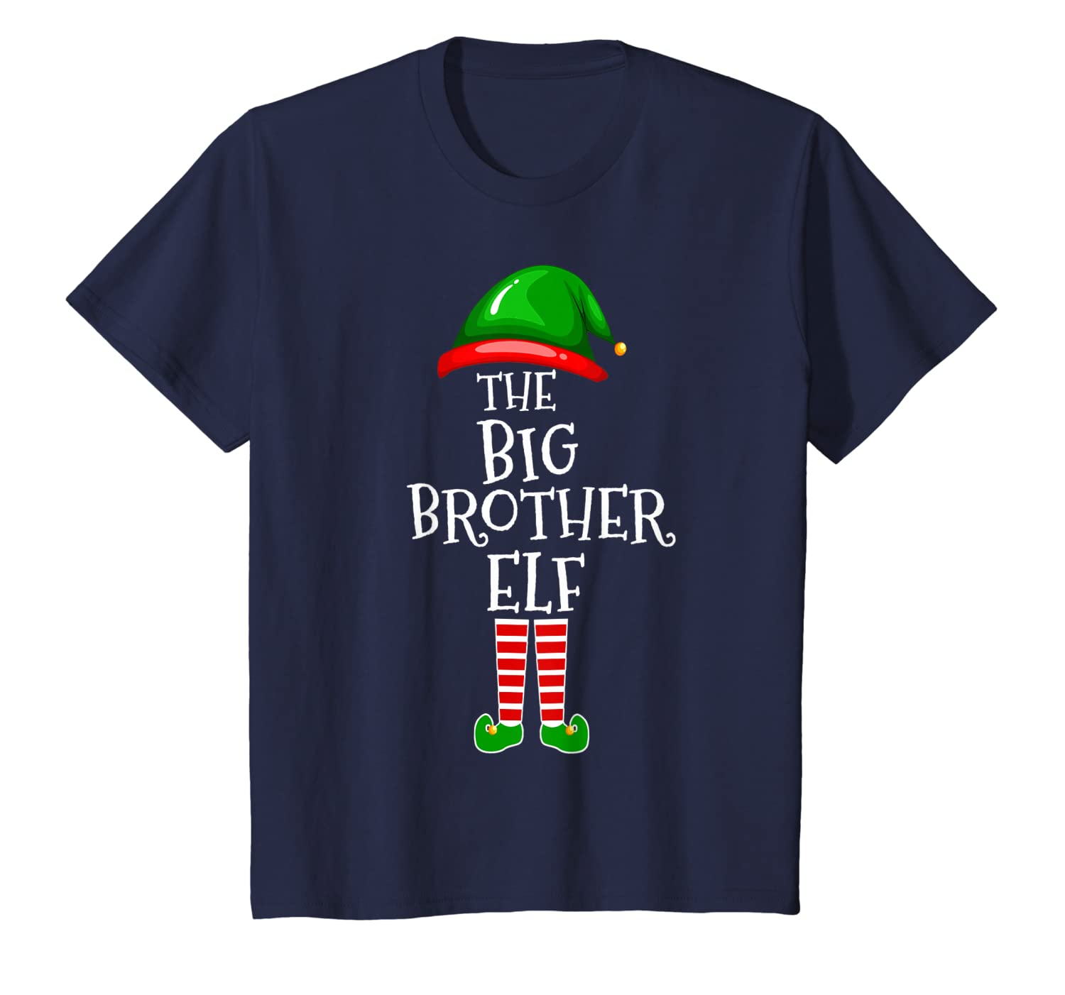 Big Brother Elf Matching Family Group Christmas Party Pajama T-Shirt