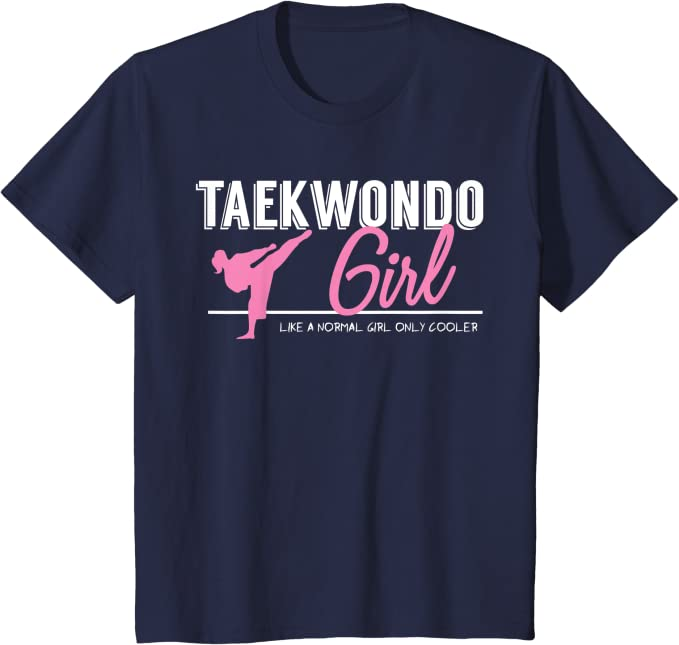 Girls Kids Child TKD Tae Kwon Do Hits Like A Girl Kick Martial Arts T Shirt