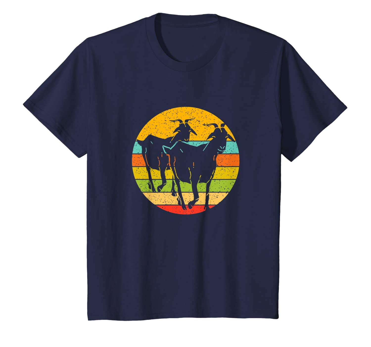 Two Goats in a vintage colored circle  goats lover T-Shirt