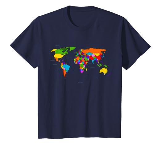 e4570bfbe63e1e Amazon.com  Kids World Map T-Shirt. Boys   Girls Map of the World ...