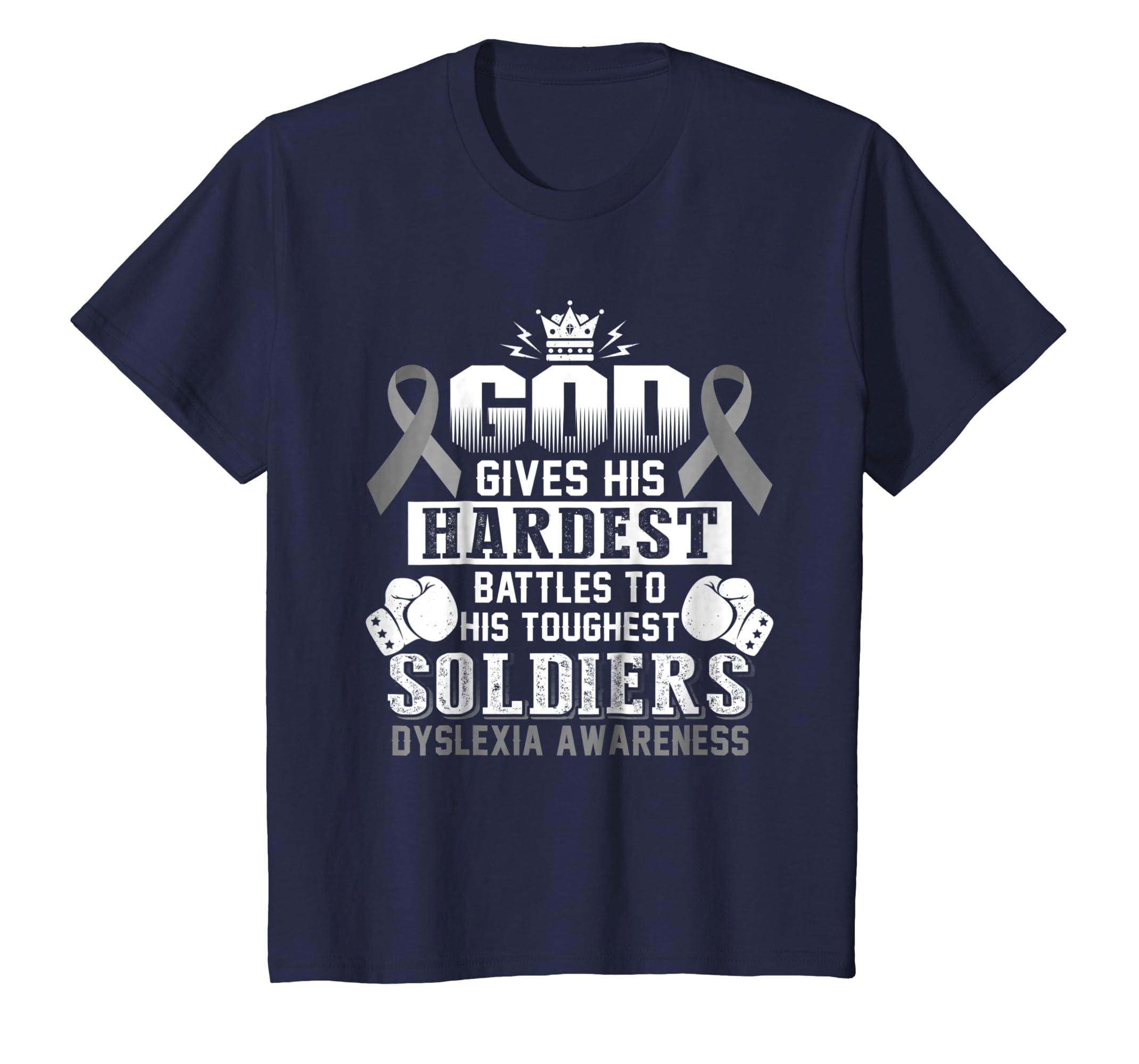 God's touchest soldiers DYSLEXIA AWARENESS t shirt