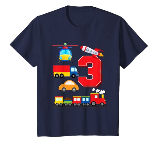 Amazon Kids Boys Transportation 3rd Birthday T Shirt Trains