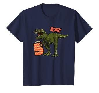 8505ef7a Image Unavailable. Image not available for. Color: Kids I Am 5 T-Rex  Dinosaur Roar Comic Inspired Birthday T-Shirt