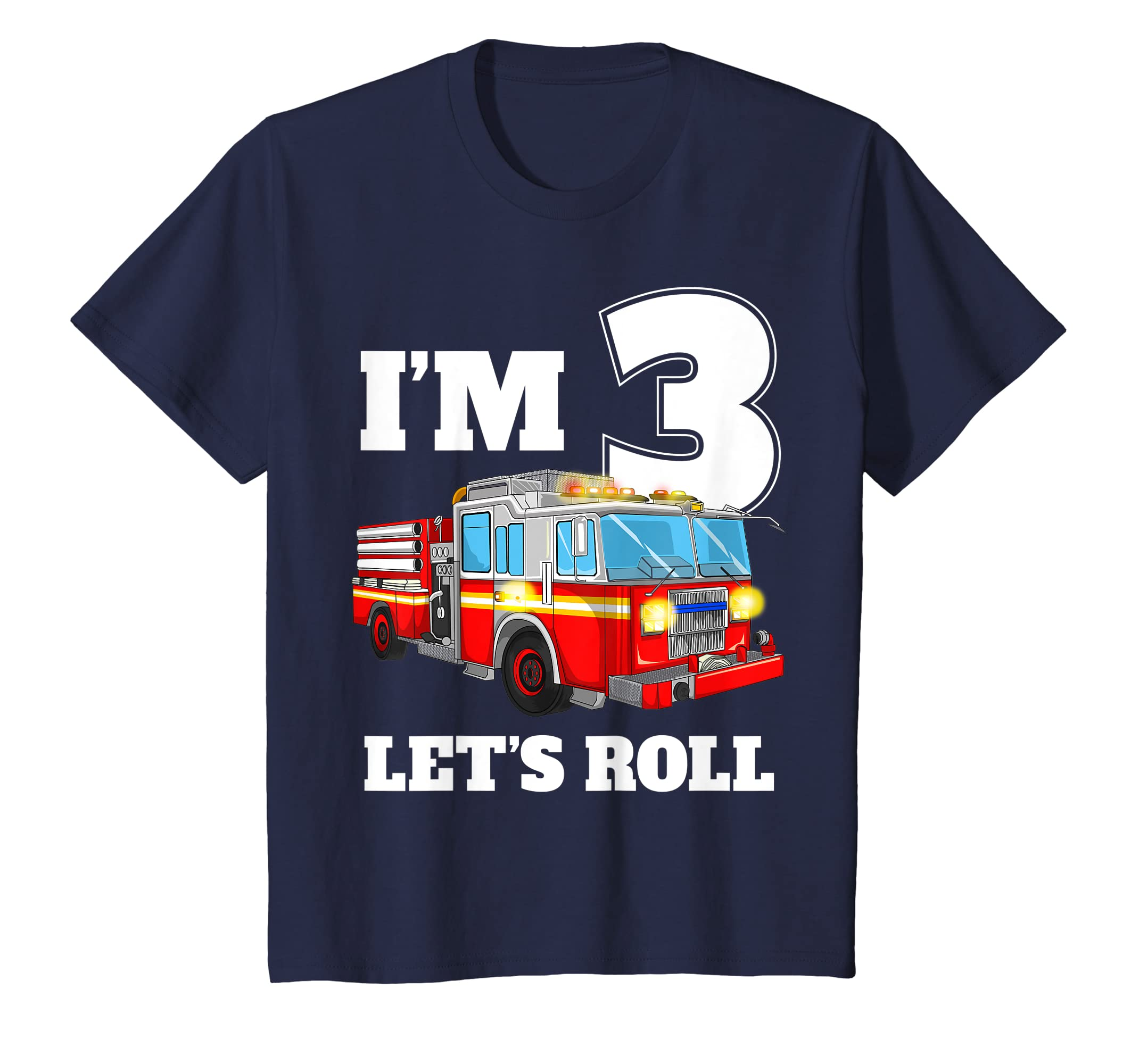 3474c80ba56 Amazon.com: Kids Fire Truck 3rd Birthday T Shirt Boy Toddler Firefighter  Tee: Clothing