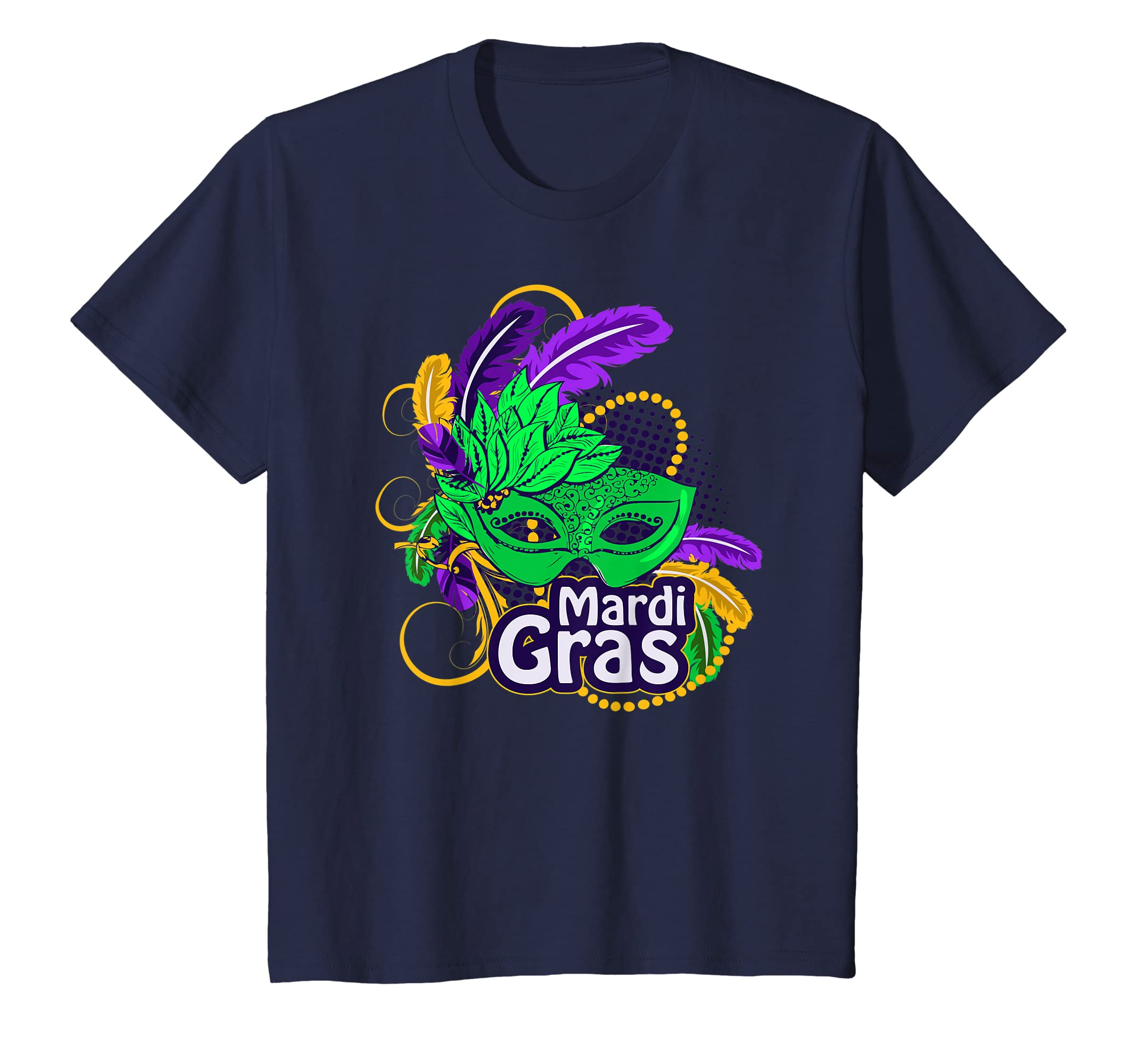 f7284efff864f4 Amazon.com: Mardi Gras T Shirt Mardi Gras 2019 Beads Mask Feathers Tee:  Clothing