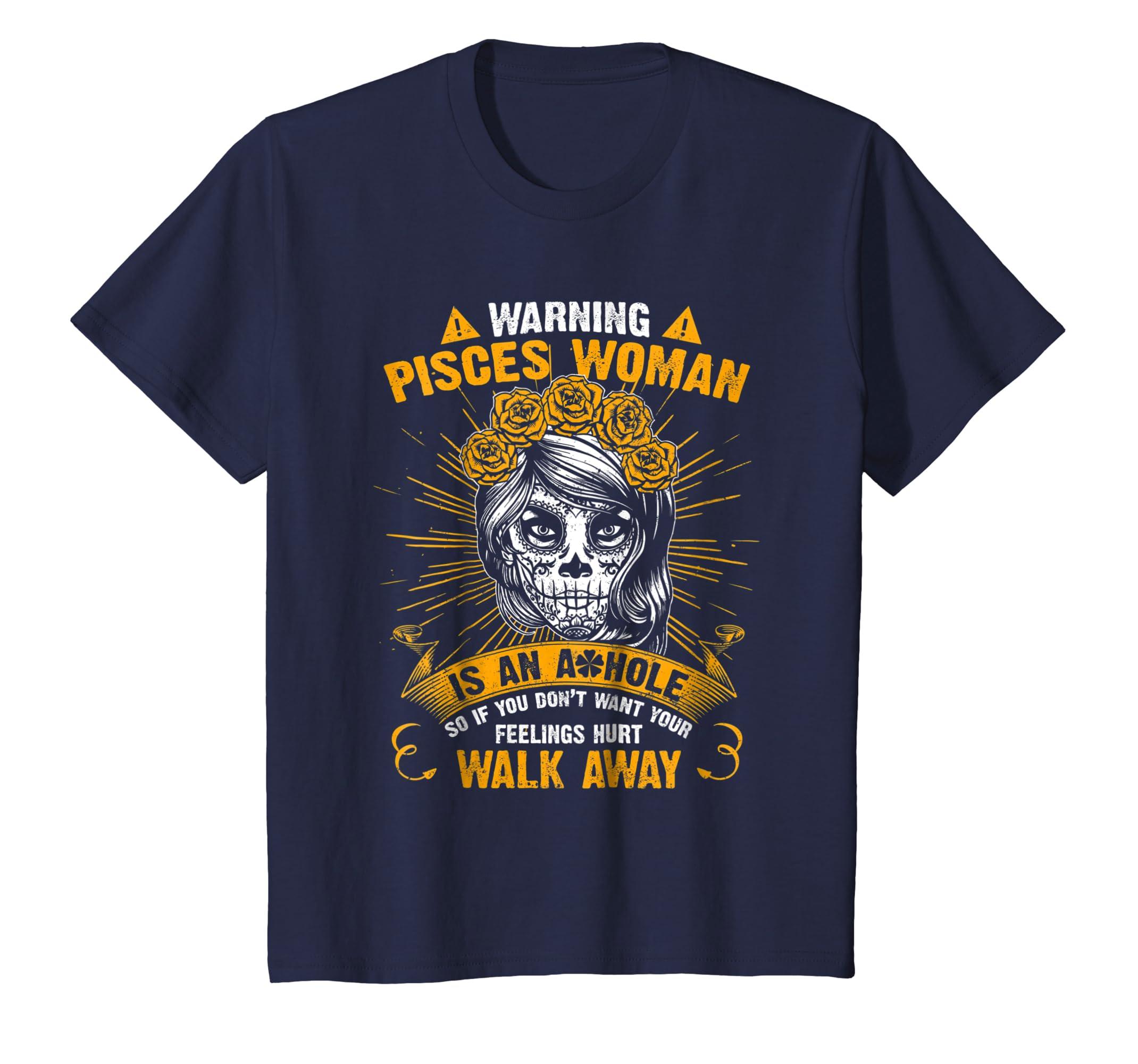 Amazon com: Warning Pisces Woman T-shirt Dia De Los Muertos