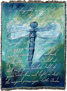 Pure Country Weavers   Dragonfly Poem Blanket   Woven Tapestry Throw Cotton with Fringe Cotton USA 72x54