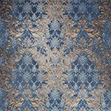113 sq.ft roll Embossed Luxury Slavyanski wallcoverings Beige victorian Vintage damask pattern covering Vinyl Non-Woven patterned Wallpaper navy blue metallic textured coverings 3D paste the wall only