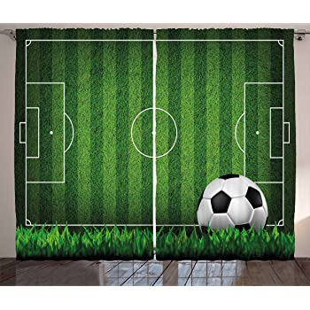 """Lunarable Sports Curtains, Green Grass Field Soccer Playground with The Ball Scheme Stripes Strategy, Living Room Bedroom Window Drapes 2 Panel Set, 108"""" X 63"""", Black White"""