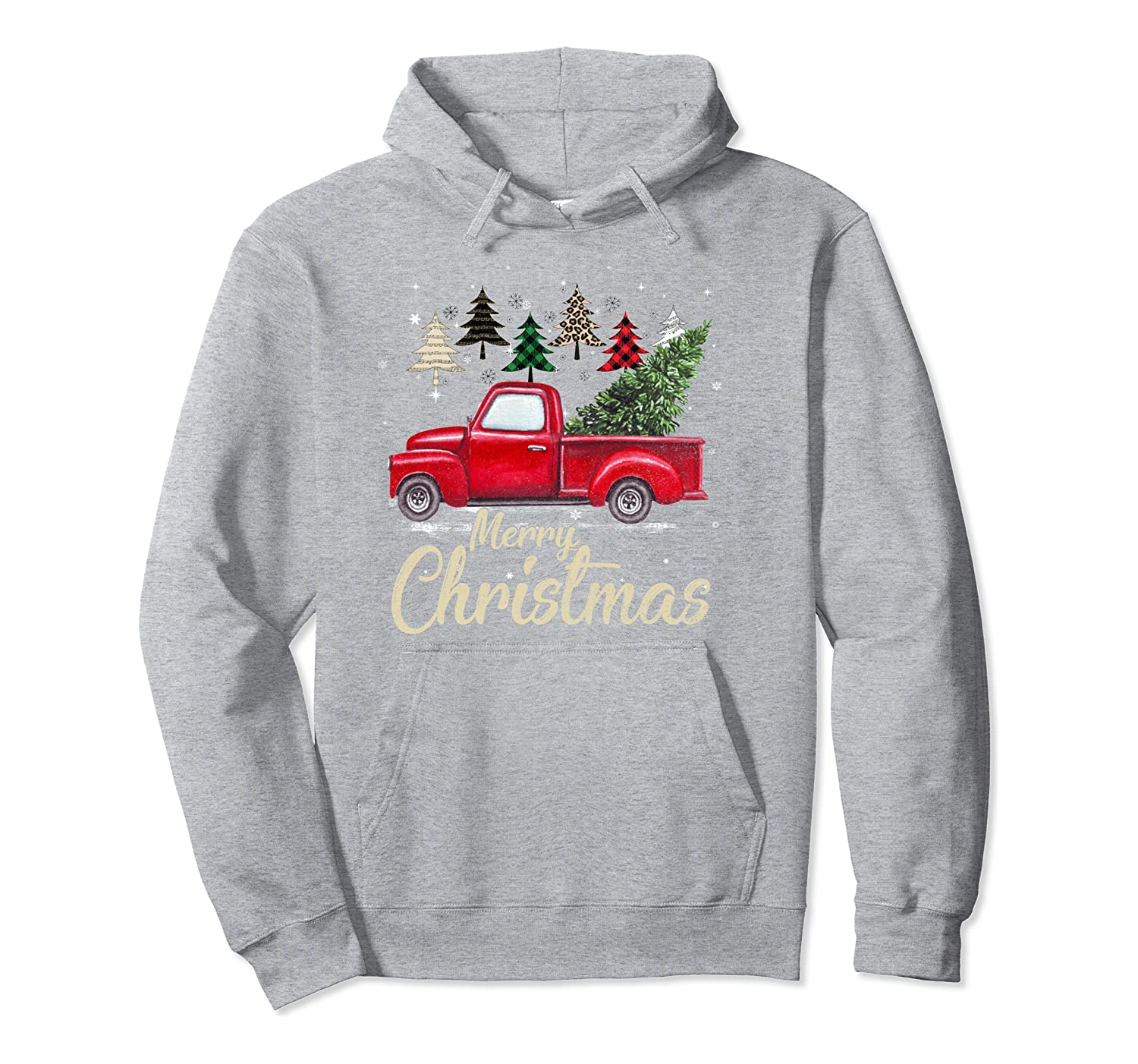 Chrismas Red Truck With Buffalo Plaid And Leopard Xmas Trees Pullover Hoodie