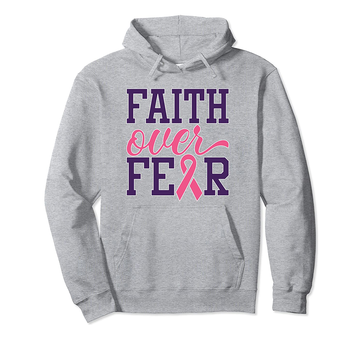 Pink Breast Cancer Awareness – Faith Over Fear Ribbon Pullover Hoodie
