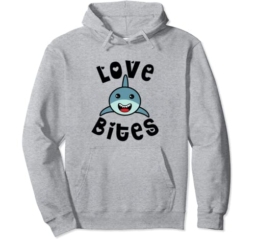 Love Bites Valentines Day Shark Cute Funny Pullover Hoodie