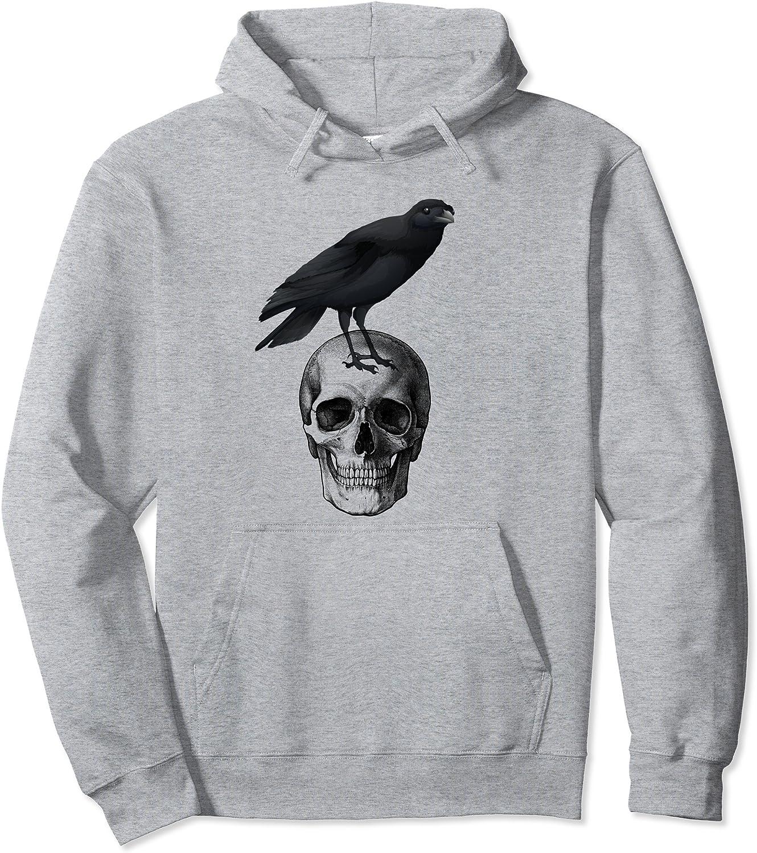 Black Crow Raven Skull Halloween Pullover Hoodie-TH