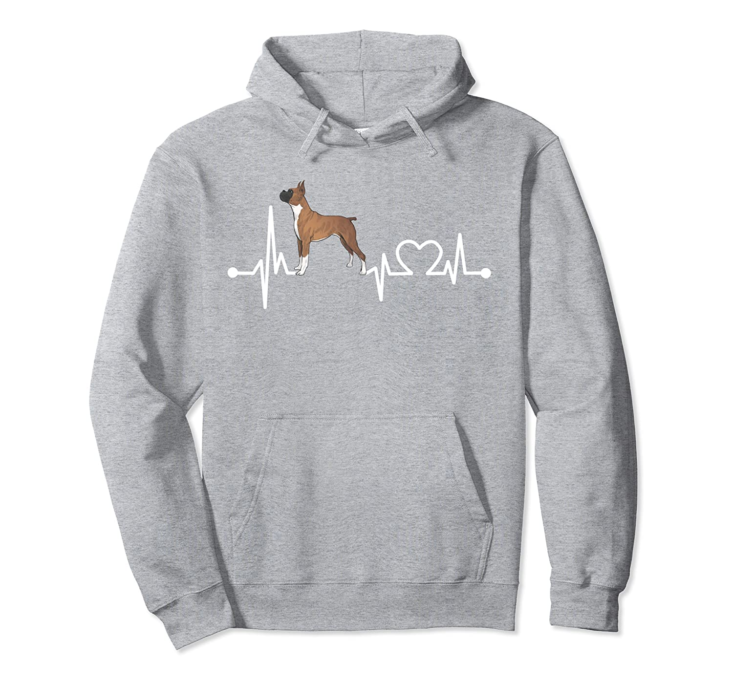 Boxer Heartbeat Funny Love Dog Pet Cool Gift Kid/Women/Men Pullover Hoodie