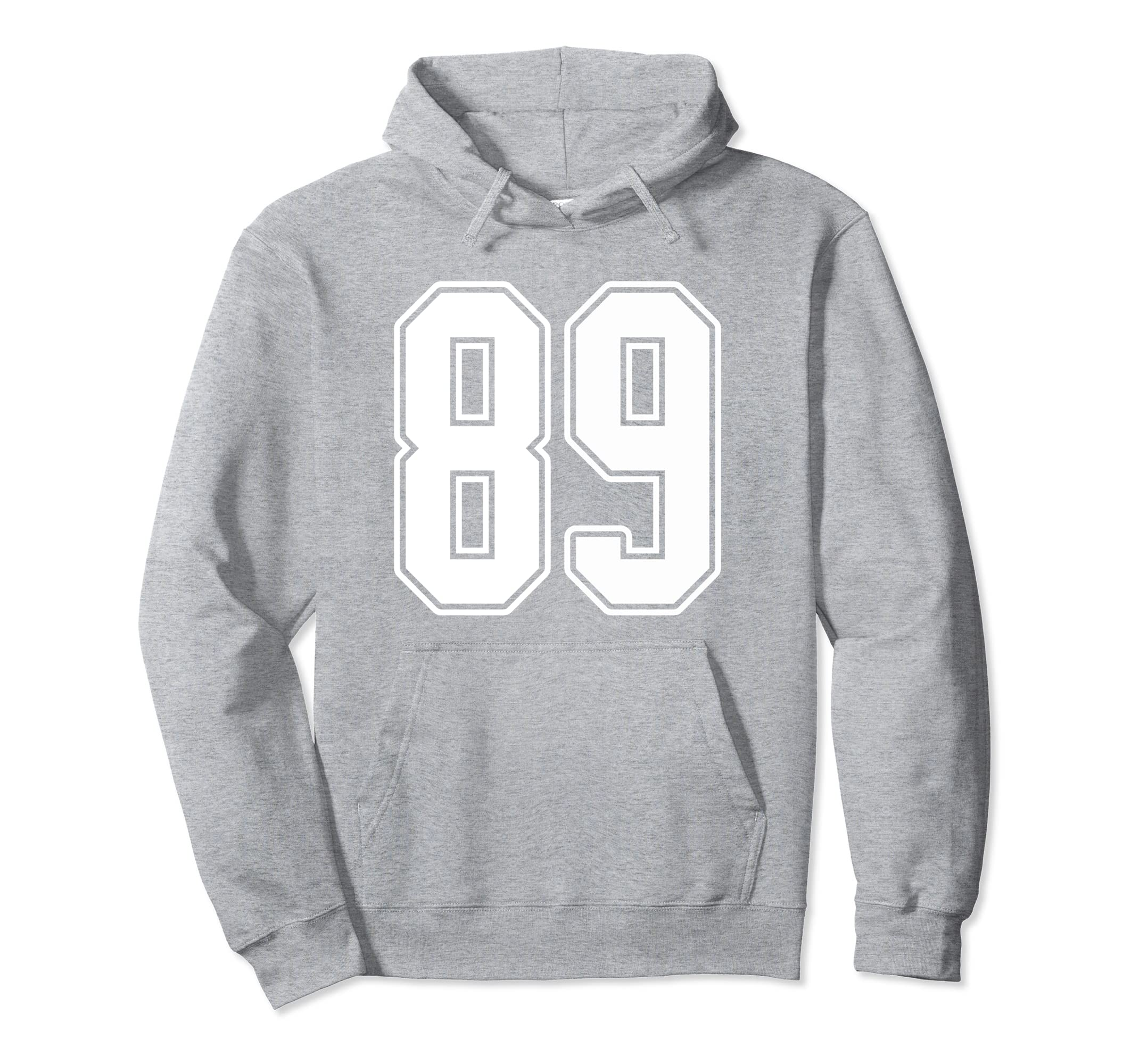 #89 White Outline Number 89 Sports Fan Jersey Style Hoodie-ANZ