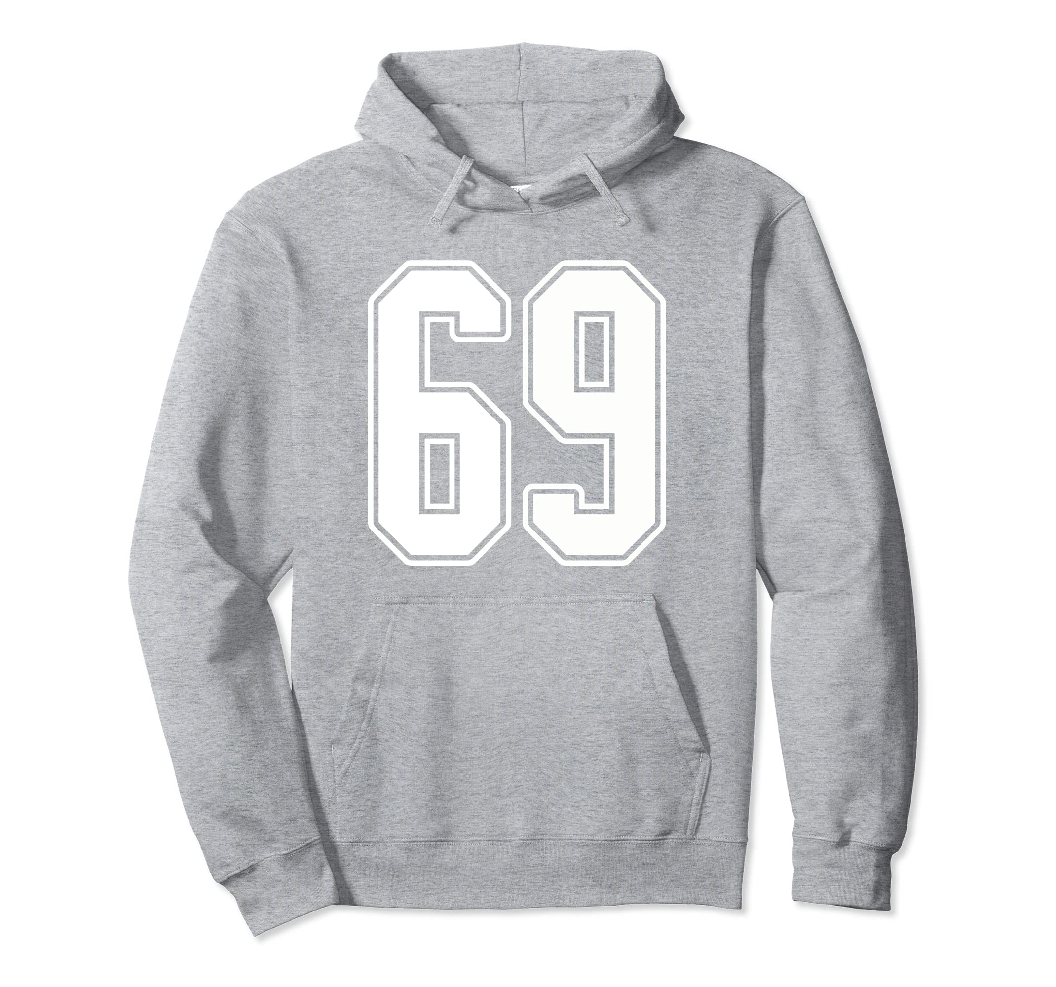#69 White Outline Number 69 Sports Fan Jersey Style Hoodie-Rose