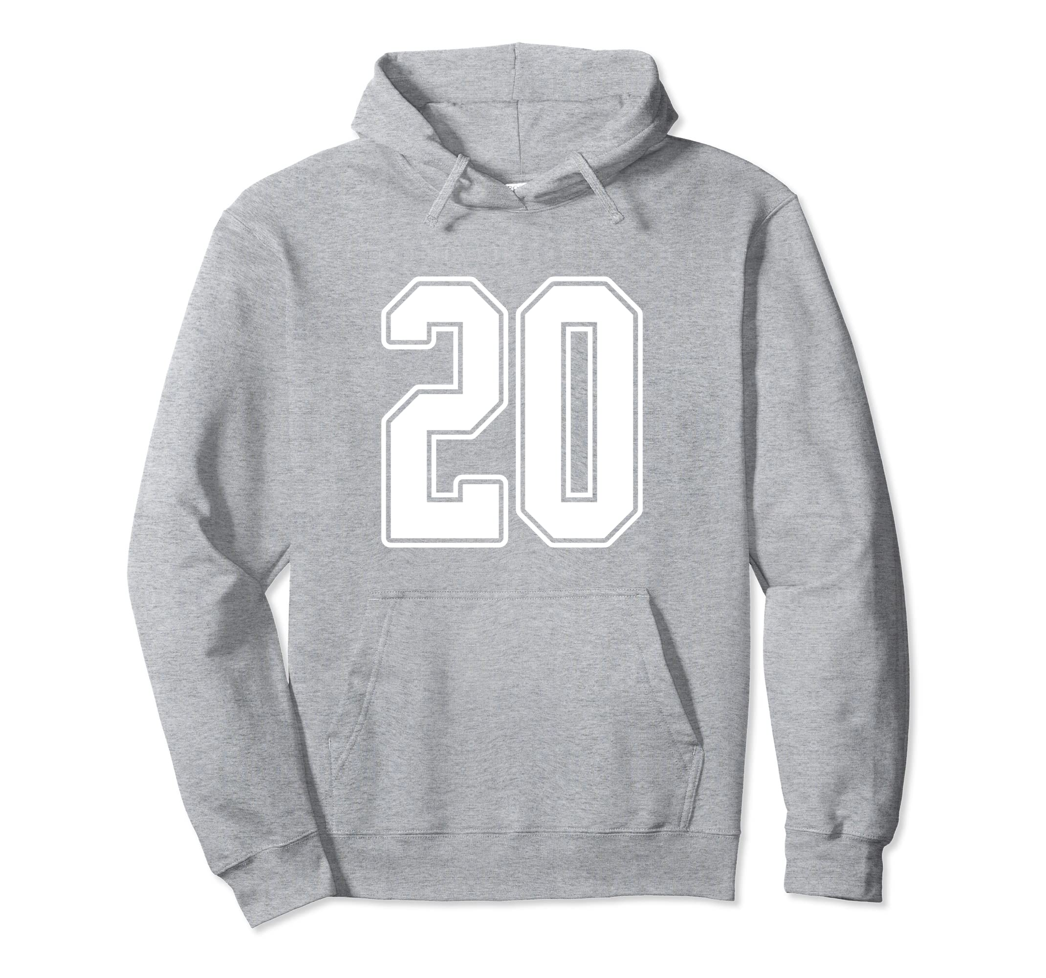 #20 White Outline Number 20 Sports Fan Jersey Hoodie-Rose