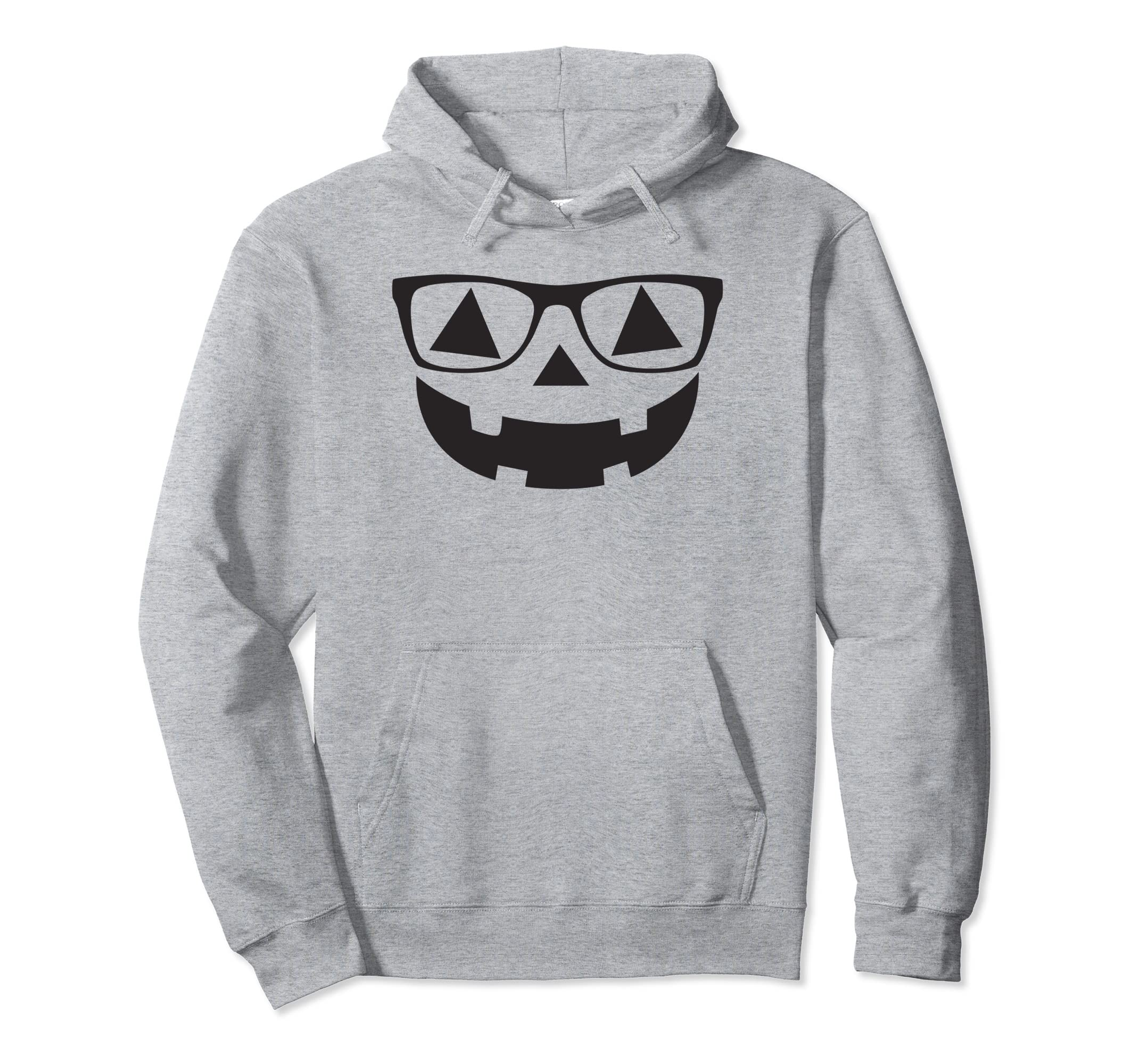 Pumpkin Glasses Cute Funny Halloween Costume Pullover Hoodie-ANZ