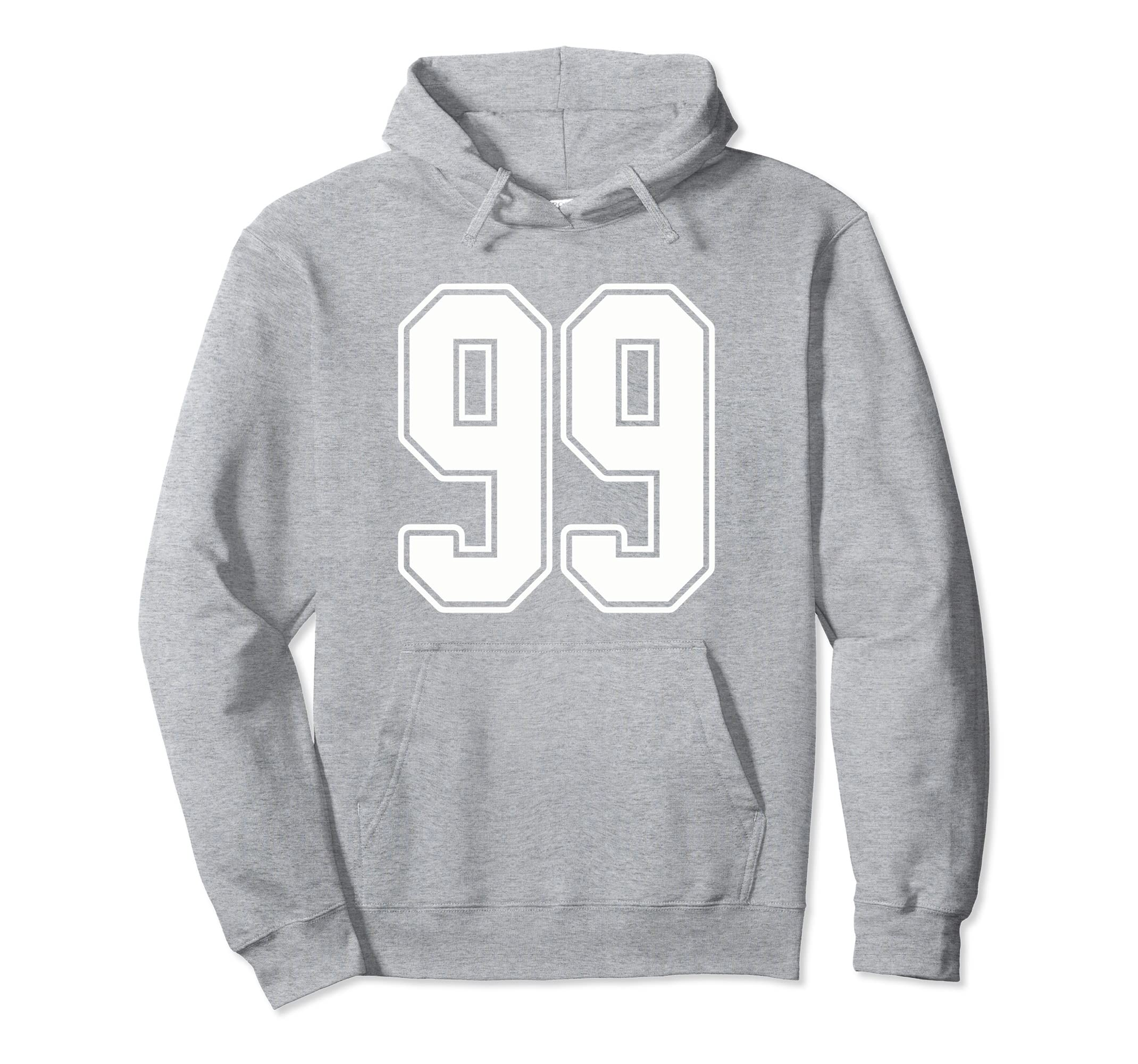 #99 White Outline Number 99 Sports Fan Jersey Style Hoodie-Rose