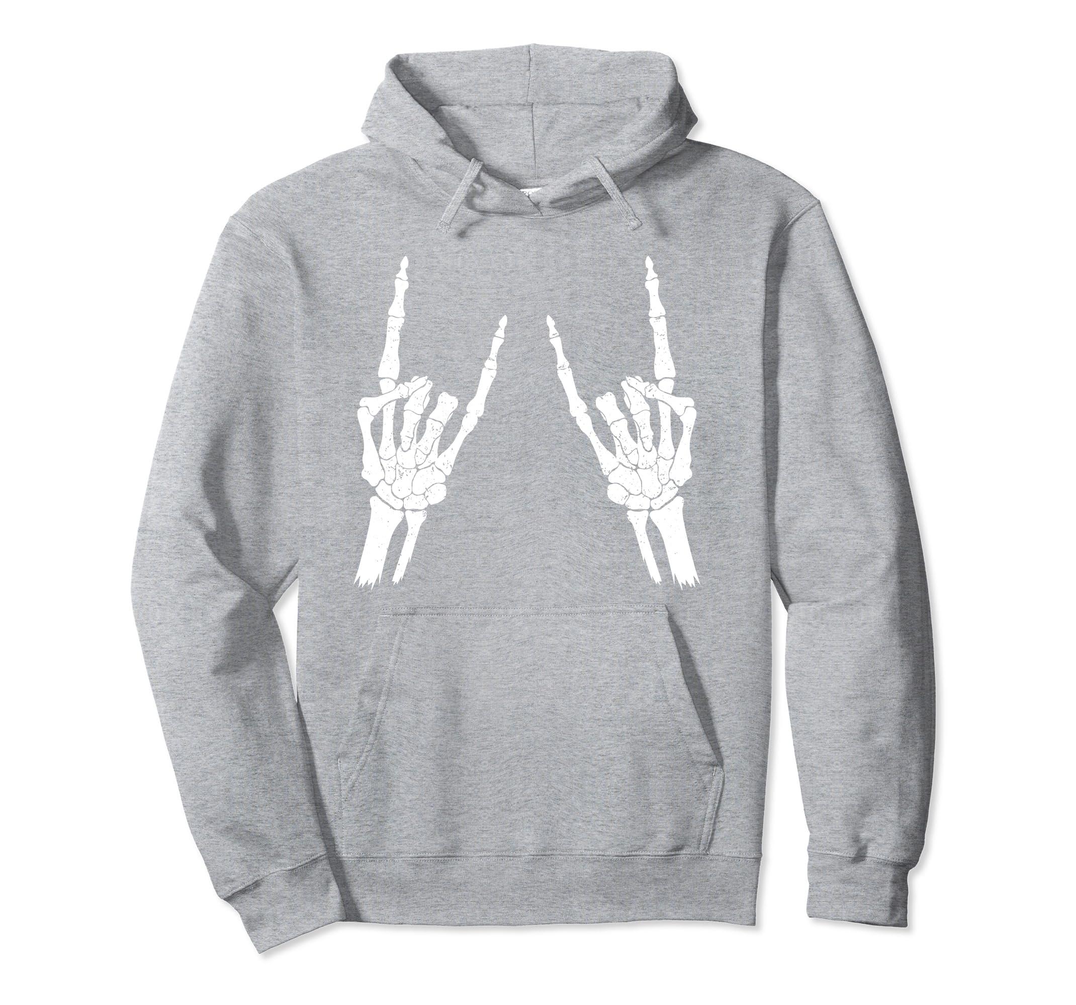 Skeleton Rocker Hoodie Halloween Trick Or Treat Gift-Rose