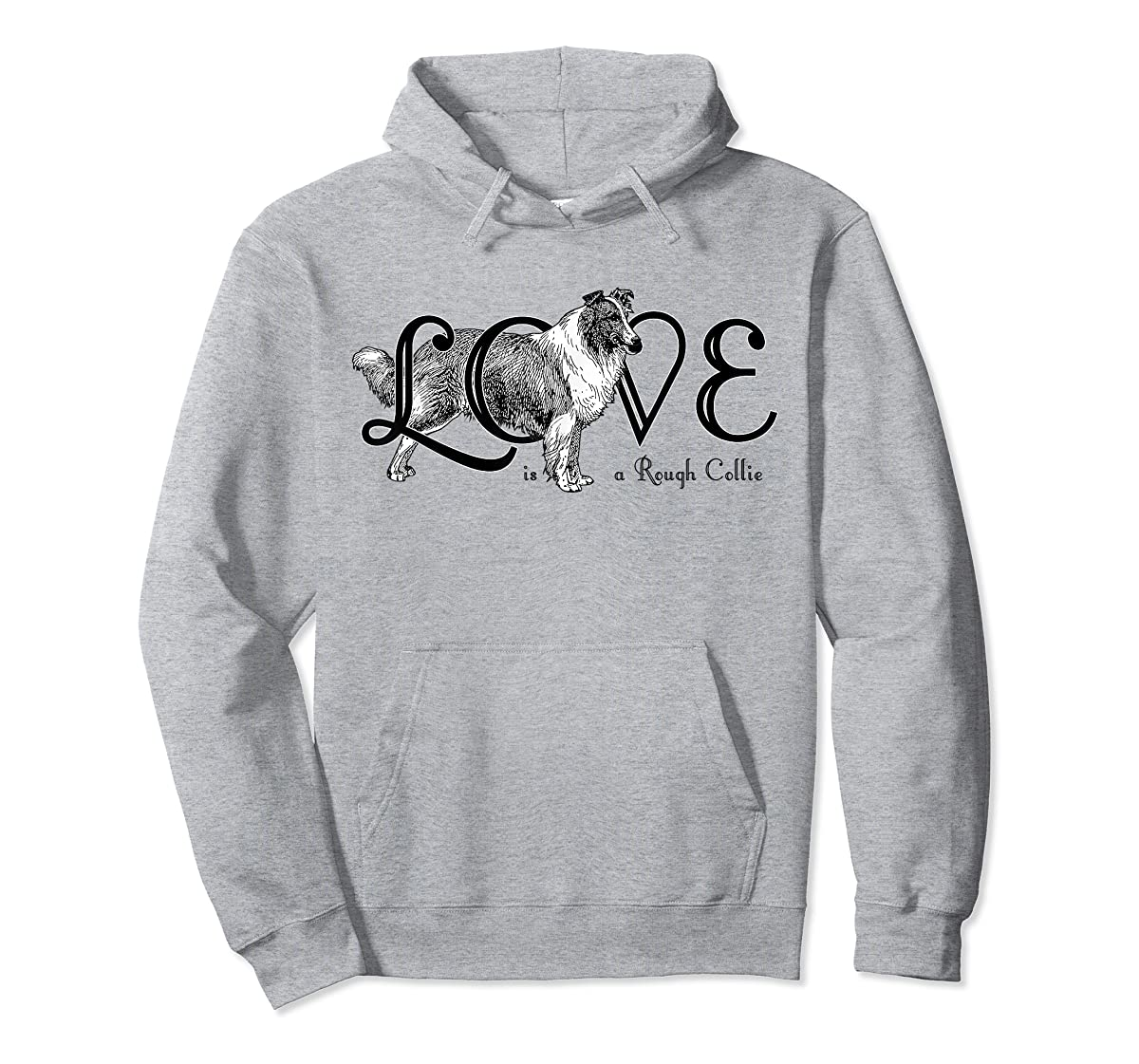 Love is a Rough Collie T-Shirt-Hoodie-Sport Grey