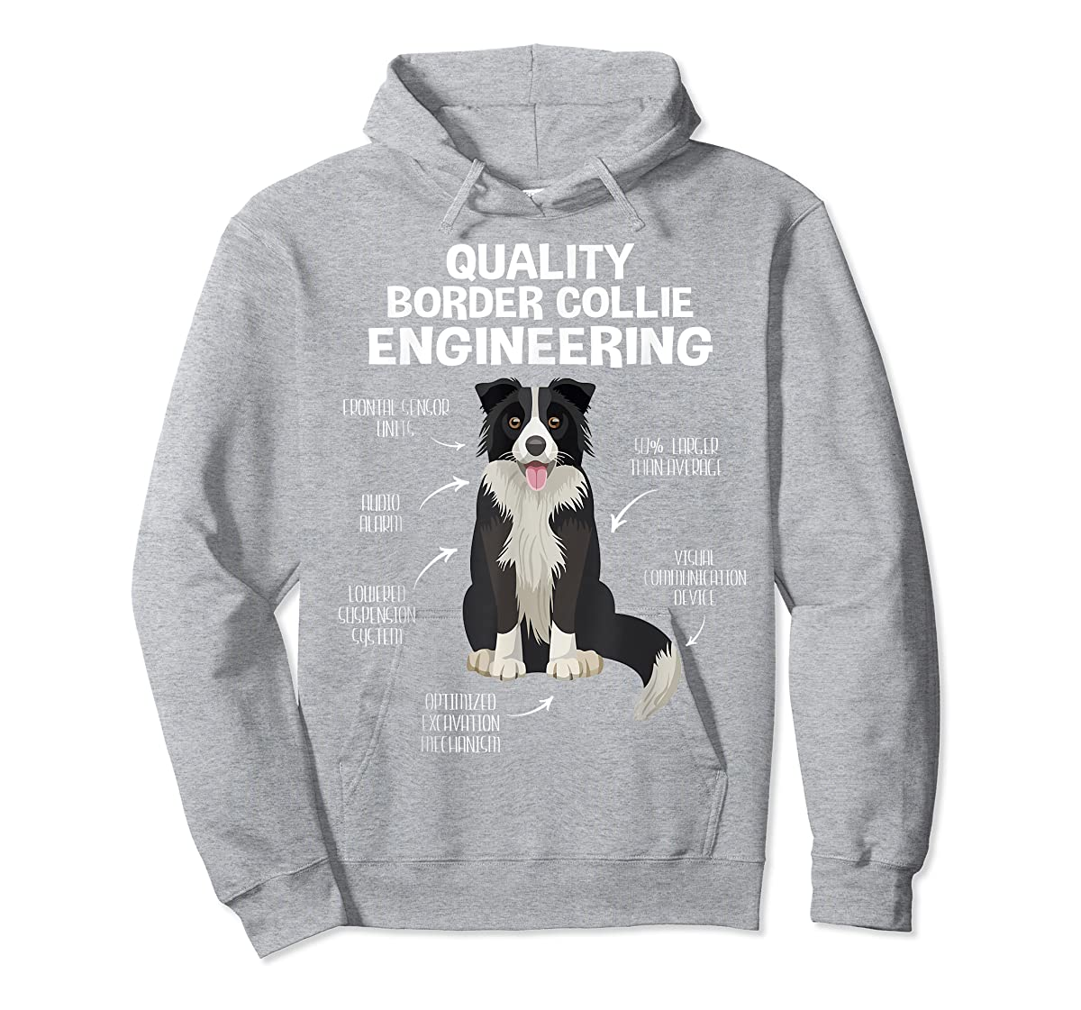 Quality Border Collie Engineering Dog Lover Gift T-Shirt-Hoodie-Sport Grey