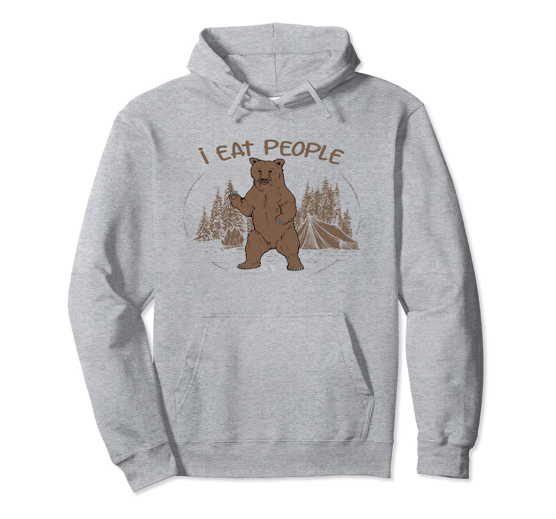 Funny Camping I Eat People Hoodie Mountains Hiking Bear Gift-ln