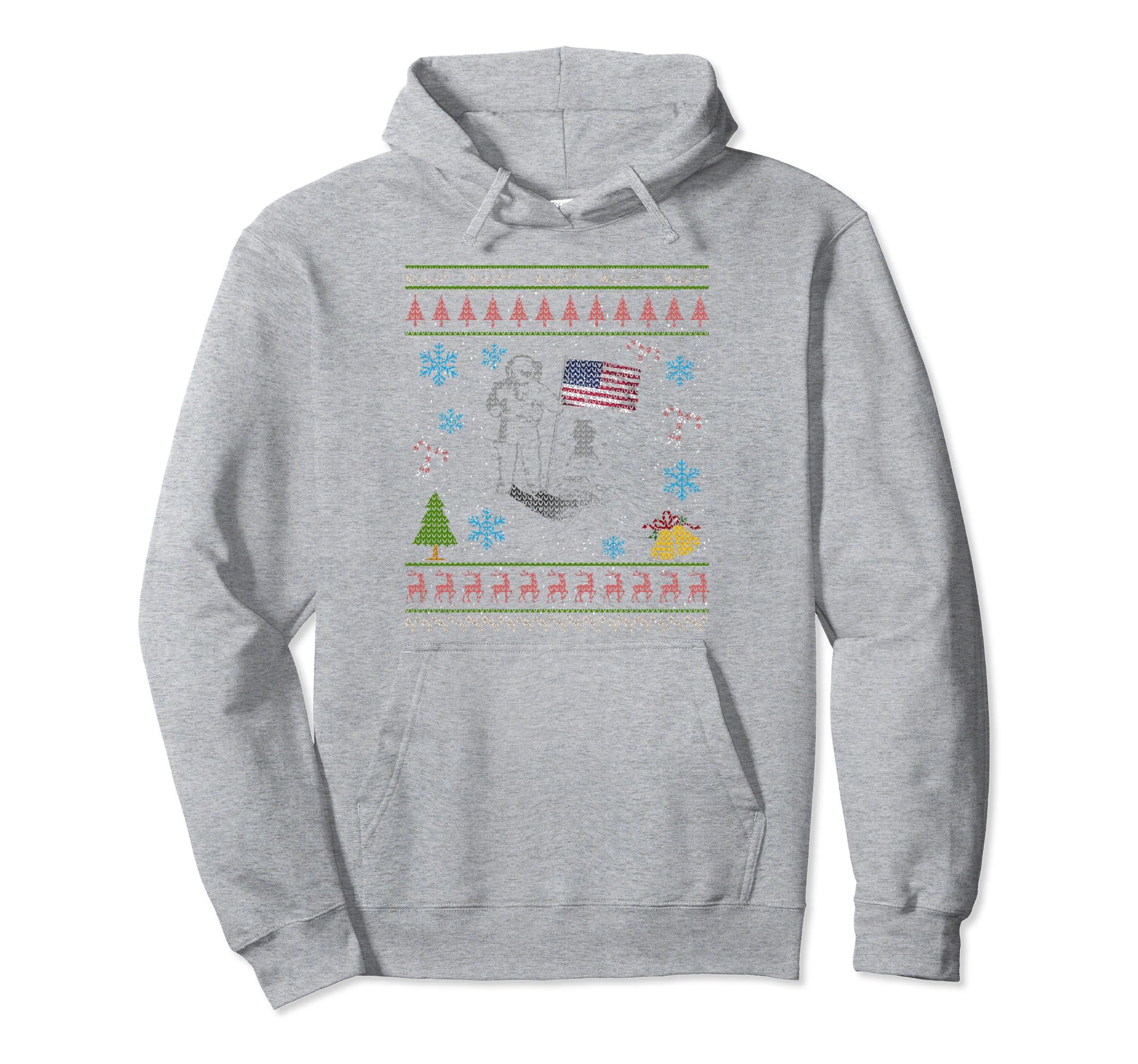 Hoodie Ugly Christmas Sweater Space Moon Man