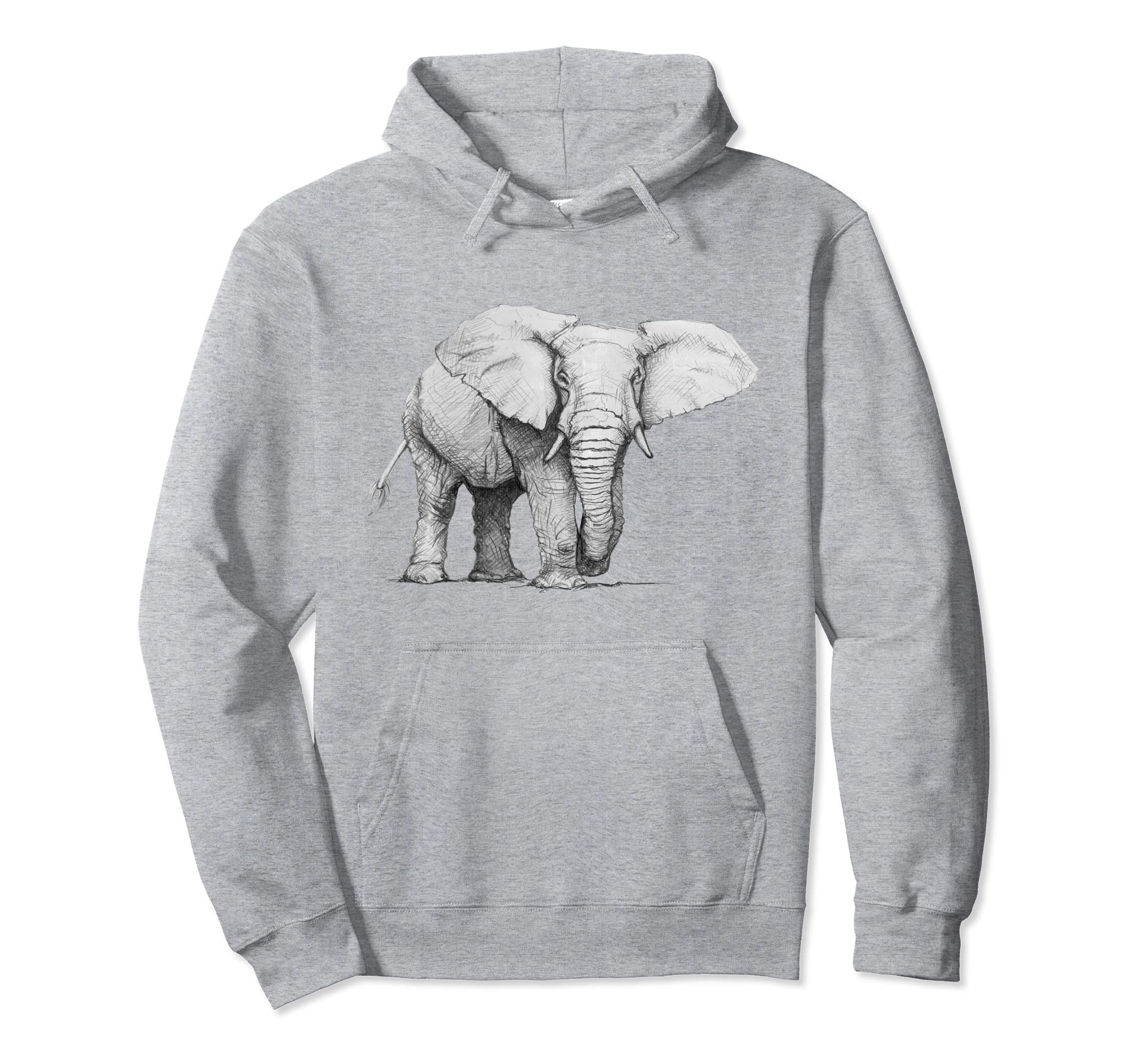 Hand Drawn ELEPHANT Pullover Hoodie