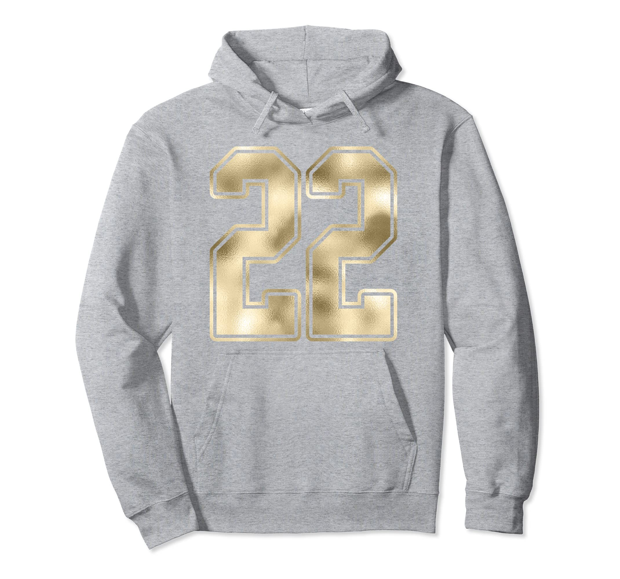 #22 Gold Outline Number 22 Sports Fan Jersey Hoodie-Rose