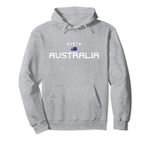 Distressed Perth Australia With Australian Aussie Flag Pullover Hoodie