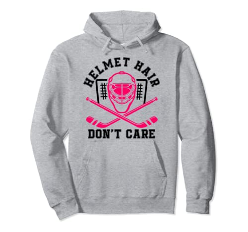 Helmet Hair Don't Care Funny For Women Girl Pink Hockey Mask Pullover Hoodie