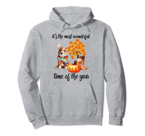 Halloween It's The Most Wonderful Time Of The Year Corgi Pullover Hoodie