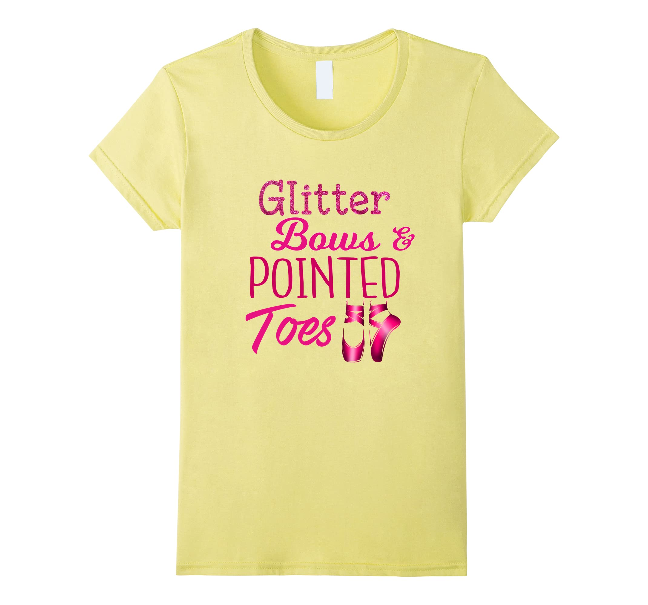 2eb172d78 Amazon.com  Glitter Bows Pointed Toes Funny Cheer Dance Ballet Shirt ...
