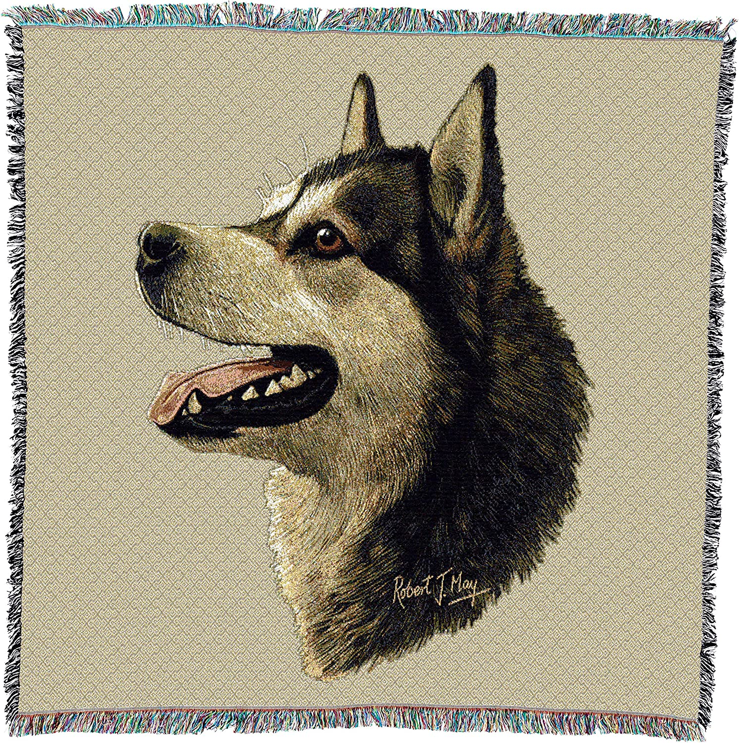 Pure Country 1178LS Alaska Malamut Pet Blanket, Canine on Beige Background, 54 by 54Inch by Pure Country